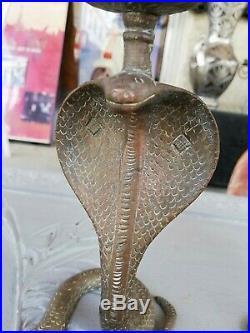 Vintage Big Set Cobra Brass Painted Candle Holders Candlesticks Snakes