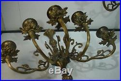 Vintage Brass 5 Arm Candlabra Wall Sconces Ornate