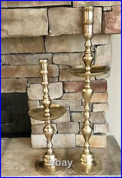 Vintage Brass Alter Candle Holders Solid Heavy Tall Pillar candlesticks a Pair