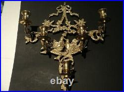Vintage Brass Bronze Dove Love Birds Candelabra Candle Holder Wall Hanging Pair