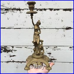 Vintage Brass Candelabra Pair M. D. Women