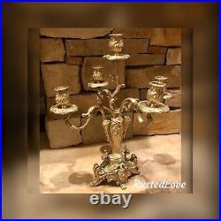 Vintage Brass Candelabra Victorian Ornate Heavy Centerpiece Candle holder