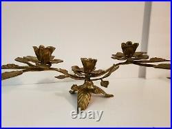 Vintage Brass Candelabra a Pair 6 candleholders Metalwear Metal Art Adjustable