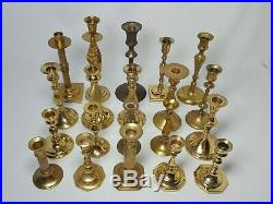 Vintage Brass Candle Holders Candlesticks Patina Weddings Mixed Lot of 20