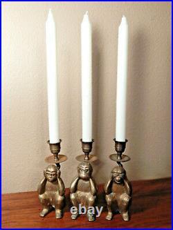 Vintage Brass Candle Holders, Monkey See No Evil, Do No Evil, Hear No Evil