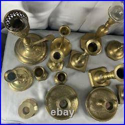 Vintage Brass Candlestick Candle Holder Lot of 17 Various Sizes Patina Wedding