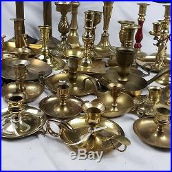 Vintage Brass Candlestick Lot 32 Total
