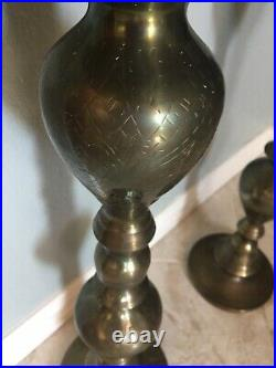 Vintage Brass Candlesticks Pair / Floor Candle Holders / Large Etched Tall 40