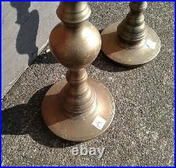 Vintage Brass Candlesticks Pair Floor Candle Holders Large and Etched 35