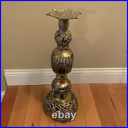Vintage Brass Floor Candle Holder Filigree 21.5 Tall Made in Japan