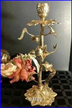 Vintage Brass Floral Candle holder Victorian embossed Lilly Hollywood Regency