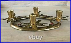 Vintage Brass Holiday Holly Christmas Advent Wreath Candle Holder