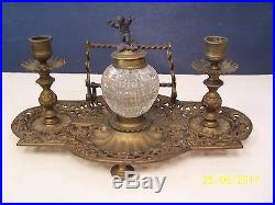 Vintage Brass INK STAND Ink Well with Candle Holders