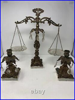 Vintage Brass Justice Balance Scale With Matching Candle Holders Marble Bases