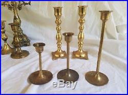 Vintage Brass Lot 25 Candelabra Candle sticks Holders Wedding Decor Hollywood