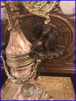 Vintage Brass Marble Cherub Candelabra Italy 24