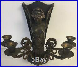 Vintage Brass Neoclassical Style Winged Mermaid Lady Wall Sconce Candle Holder