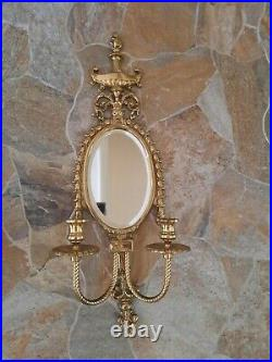 Vintage Brass Pair Wall Sconces with Mirror & Candle Holders