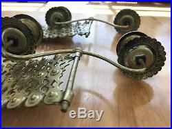Vintage Brass Piano Accordion Candle Holders Wall Sconces Set Of Two