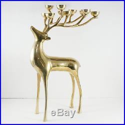 Vintage Brass Reindeer Floor Candelabra Candle Holder Christmas ...