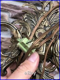 Vintage Brass Wall Sconce Candle Holder 2 Arms