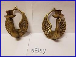 Vintage Brass Wall Sconce Candlestick Holder Bird Swan Phoenix Mid Century Wings