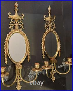 Vintage Brass Wall Sconce Pair With Mirrors, Two Candle Holder And Crystals 22