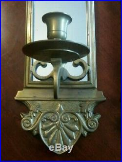 Vintage Brass Wall Sconces Candle Holders PAIR (24 tall)