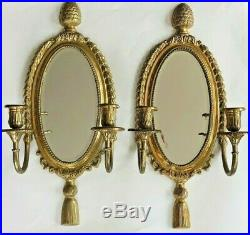 Vintage Brass and Beveled Mirror Candle Holder Wall Sconce Pair Pineapple Tassel