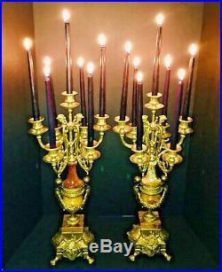 Vintage Brevettato Ornate Italian Brass and Sienna Rose Marble Cherub Candelabra