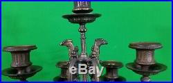 Vintage Brevettato-like Black Marble And Brass 7 Point Candelabra