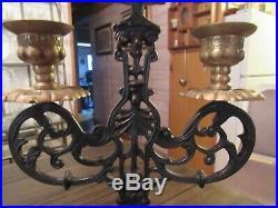 Vintage Bronze & Brass 3 Candle Candelabra Church Candlestick Gothic Cross