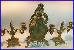 Vintage Bronze/Brass Mantel Clock withBattery Powered, it Works +2 Candle Holders