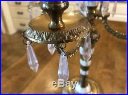 Vintage Candelabra Brass and Mother of Pearl 5 Arm Candle Holder with Crystals