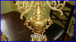 Vintage Candelabra Set Of Solid Brass Italian Made Five Candle Plus Finial