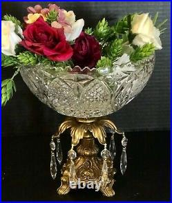 Vintage Crystal Candy Dish Brass Victorian Baroque Bowl with hanging Crystals