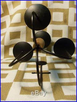 Vintage Danish Modern 4 Candle Brass & Teak Metal Sconce Candle Holder MCM 1960