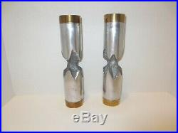 Vintage David Marshall Brutalist Aluminum Brass Candlestick Pair 9.25 Unsigned