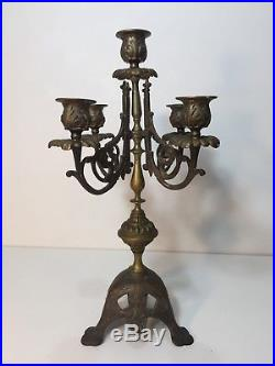 Vintage French Brass Bronze 5 Arms Candelabra Candlestick, 15 Tall x 8 1/2 W