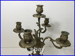 Vintage French Brass Bronze 5 Arms Candelabra Candlestick, 16 1/2 Tall x 14 W