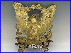 Vintage Gilt Bronze Brass American Eagle Wall Sconce 2-Light Candleholder
