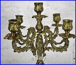 Vintage Gorgeous Brass Ornate Candle Holder Stick Candelabra 5 arm 16.53H