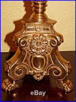 Vintage Gothic Church 26 inch Brass Altar Candle Holder