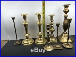 Vintage HUGE Mixed Lot 27 Solid BRASS Candlestick Holders Party Weddings Event