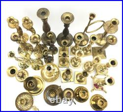 Vintage HUGE Mixed Lot 31 Solid BRASS Candlestick Holders Party Weddings Event A