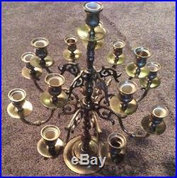 Vintage Heavy Brass Candelabra 14 Light Candle Holder