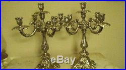 Vintage Heavy Pair Brass Candelabras 17 Tall and 13 1/2 Wide. Free Shipping