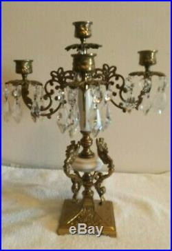 Vintage Italian 5 Arm Candelabra Candle Holder Marble Brass Crystals