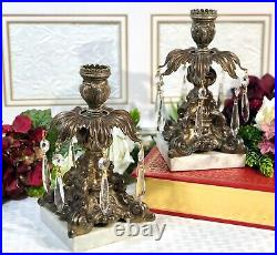 Vintage Italian Brass Candle holders with Crystals / Marble base / Baroque Style