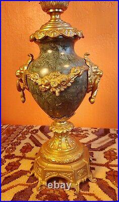 Vintage Italian Brevettato Baroque Brass Candelabra Green Marble & Lions, signed